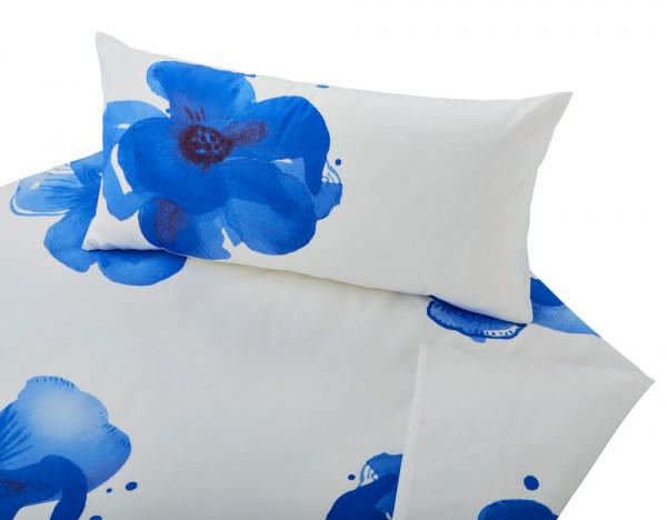 Bio-Satin-Bettwäsche Blaue Anemone